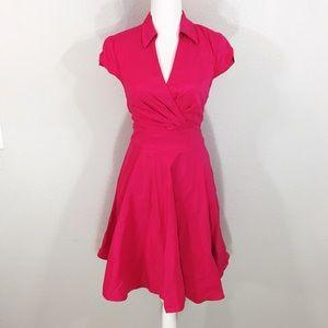 Betsey Johnson pink faux wrap a-line dress